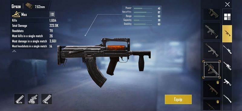 Stats of Groza