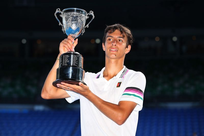 Lorenzo Musetti with the 2019 Australian Open junior title in Melbourne