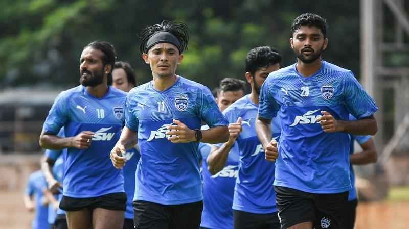 Sunil Chhetri and Co sweating it out at Bellary. Image Credits: Bengaluru FC