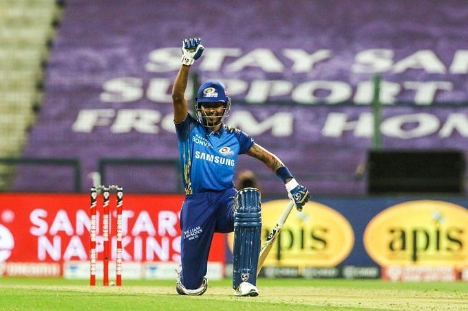 Hardik Pandya scored a quickfire half-century against the Rajasthan Royals.