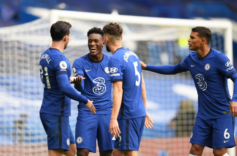 Ben Chilwell celebrates with teammates after scoring his first goal for Chelsea