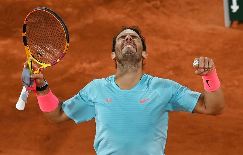 Rafael Nadal celebrating his win over Jannik Sinner