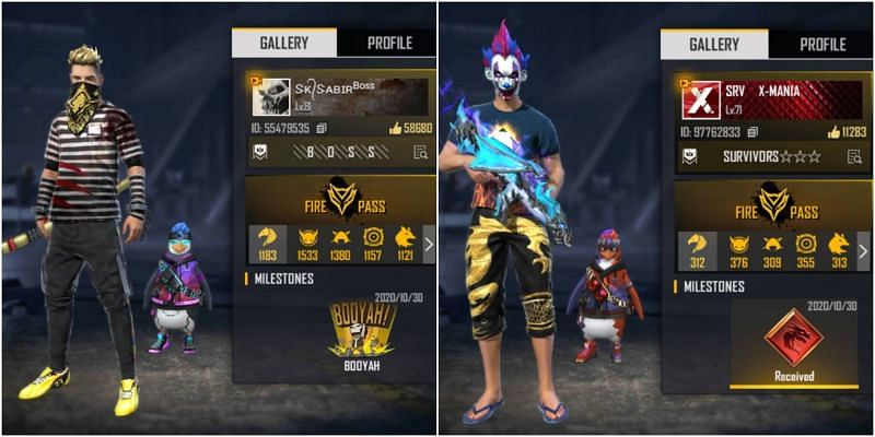 Who has better stats between SK Sabir Boss and X-Mania in Free Fire?