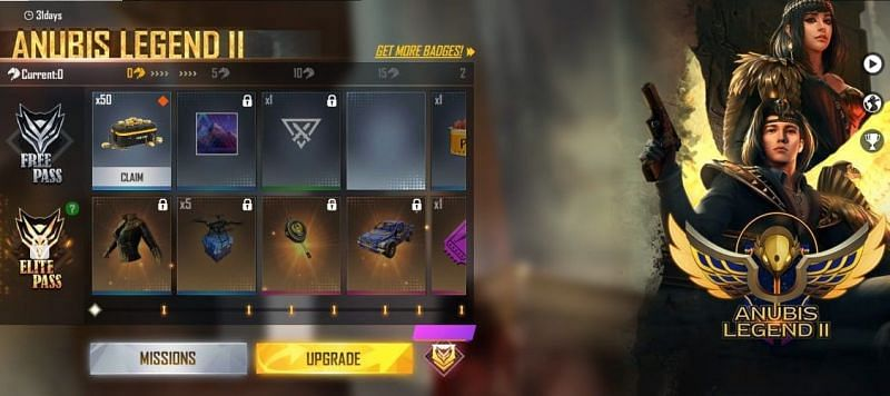 Free Fire: The Anubis Legends 2 Elite Pass price, release date, and rewards