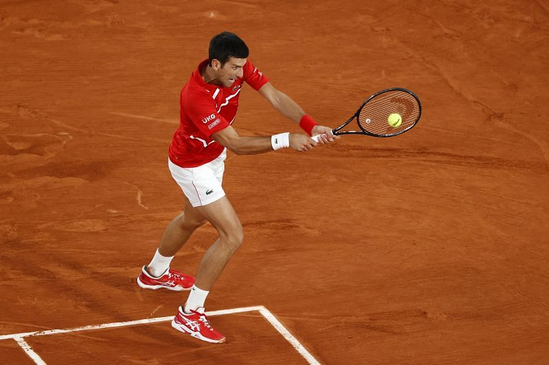 Novak Djokovic during the 2020 French Open at Roland Garros in Paris
