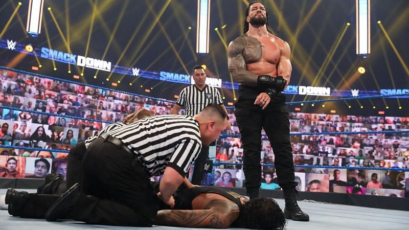 Roman Reigns gets the better of Jey Uso on the October 16th episode of SmackDown