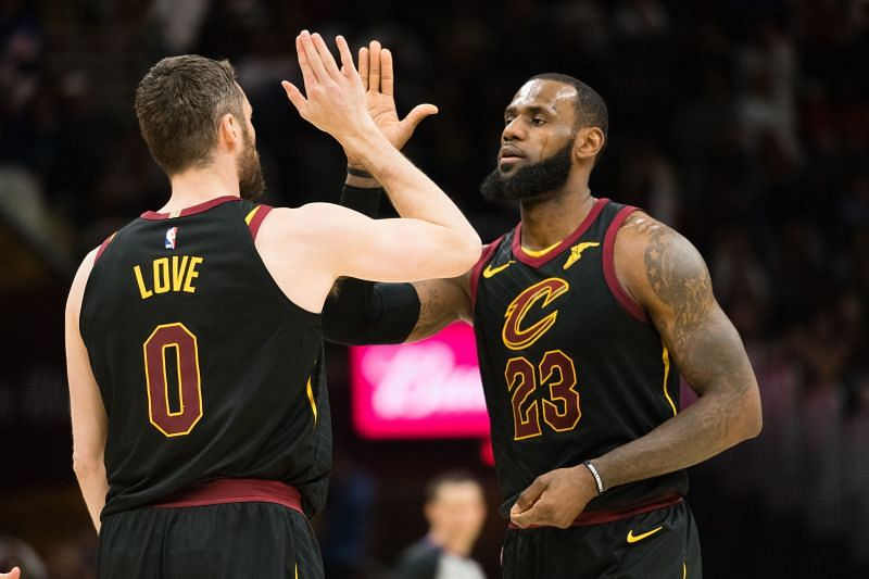 Kevin Love (#0) and LeBron James (#23) while playing for the Cleveland Cavaliers.