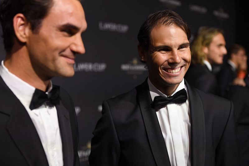 Roger Federer and Rafael Nadal (R) at the 2019 Laver Cup