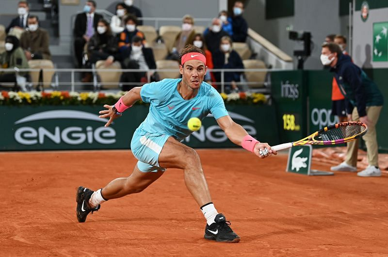 Rafael Nadal in action during the 2020 French Open final