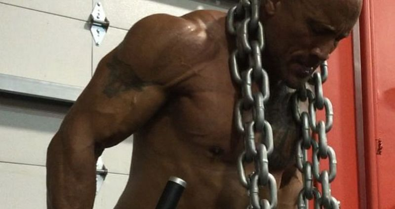 The Rock often includes chains in his workout routine