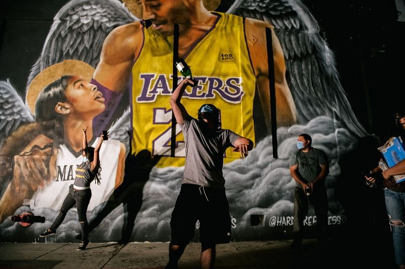 Fans celebrate in Los Angeles after LA Lakers