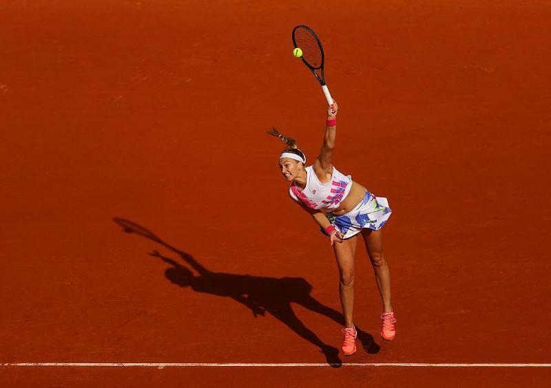 Petra Kvitova serves at the French Open