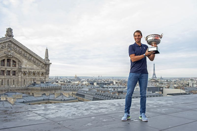 Rafael Nadal poses with the French Open trophy