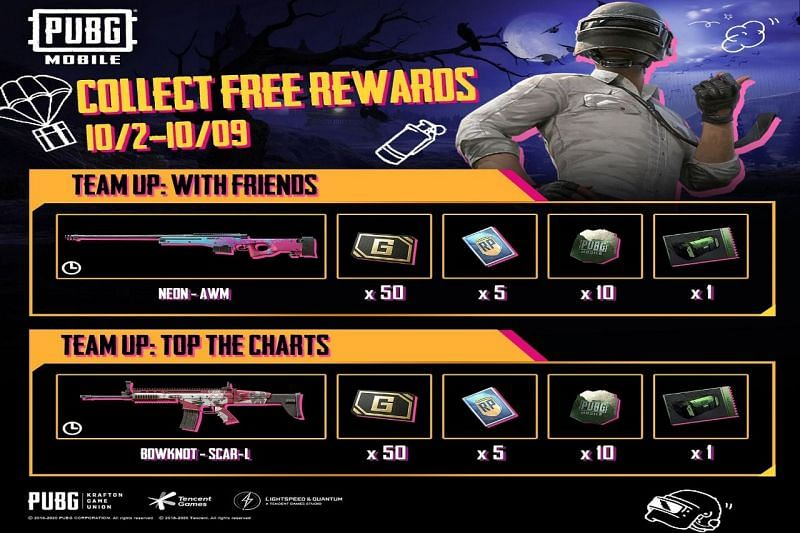 PUBG Mobile Team Up event: How to collect free gun skin rewards in October 2020