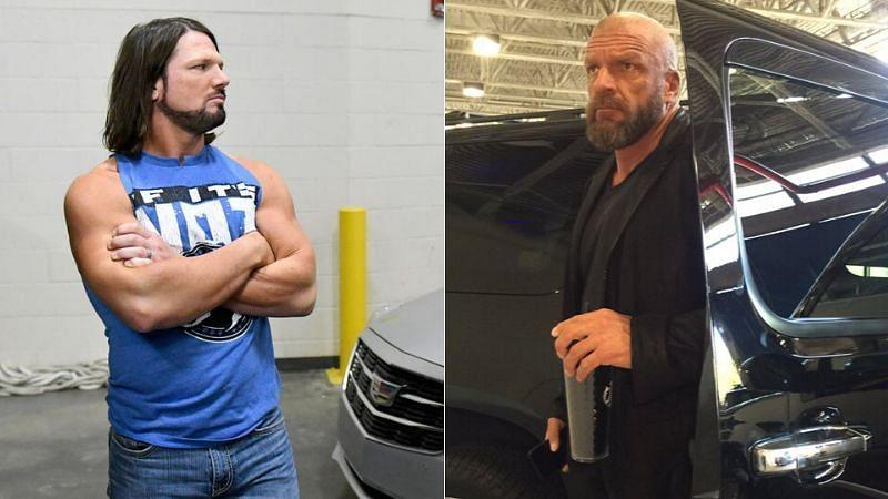 AJ Styles (left); Triple H (right)
