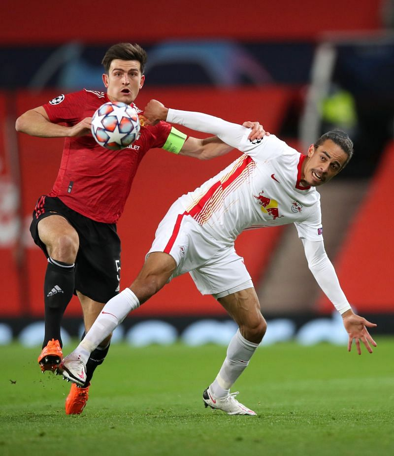 Poulsen was kept firmly in check by the attentions of Harry Maguire all evening
