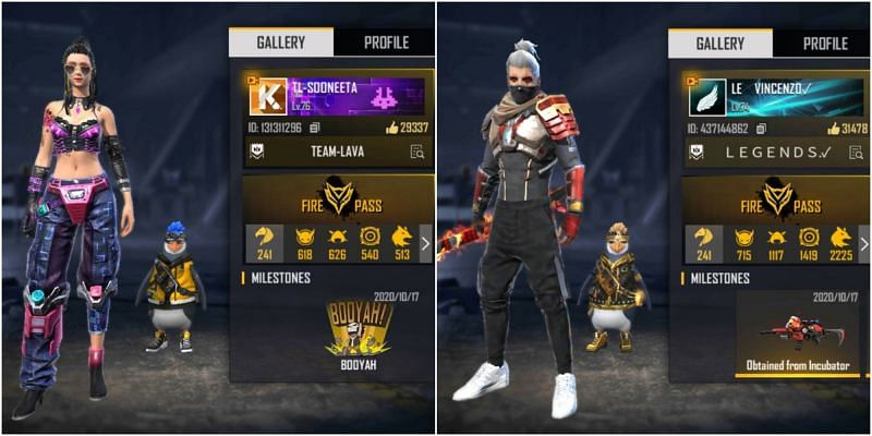 Who has better stats between Sooneeta and Vincenzo in Free Fire?