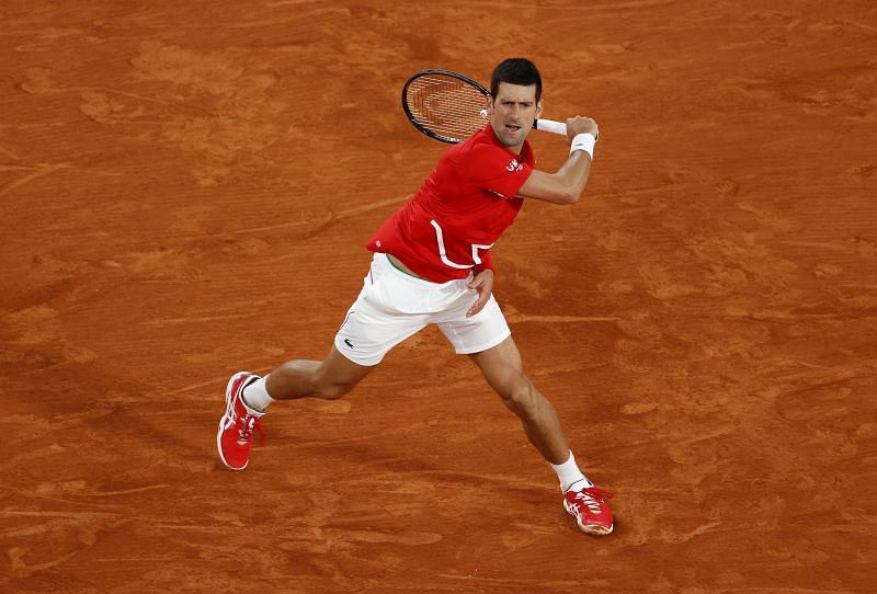 Novak Djokovic during the final against Rafael Nadal at the 2020 French Open
