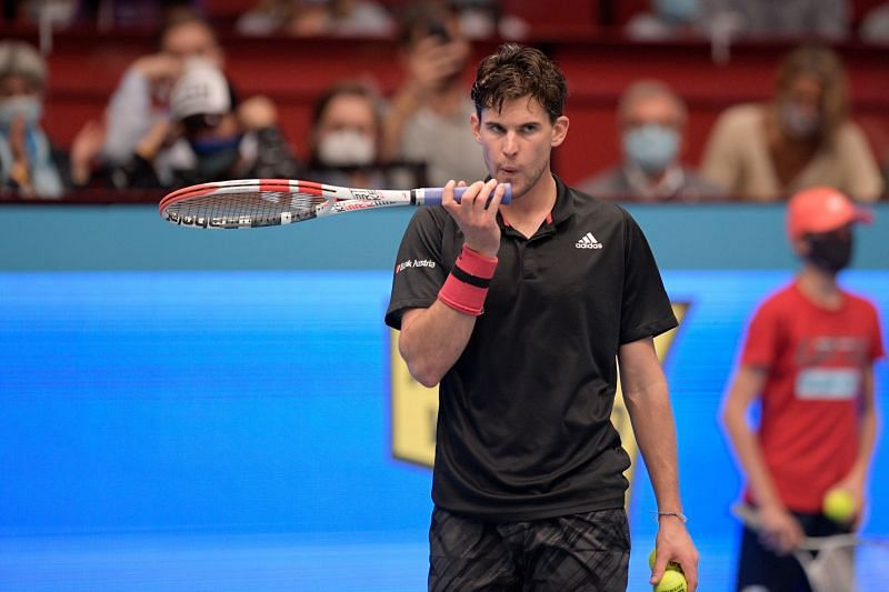 Dominic Thiem in action against Andrey Rublev