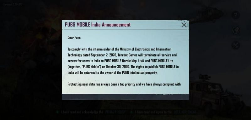 The in-game message