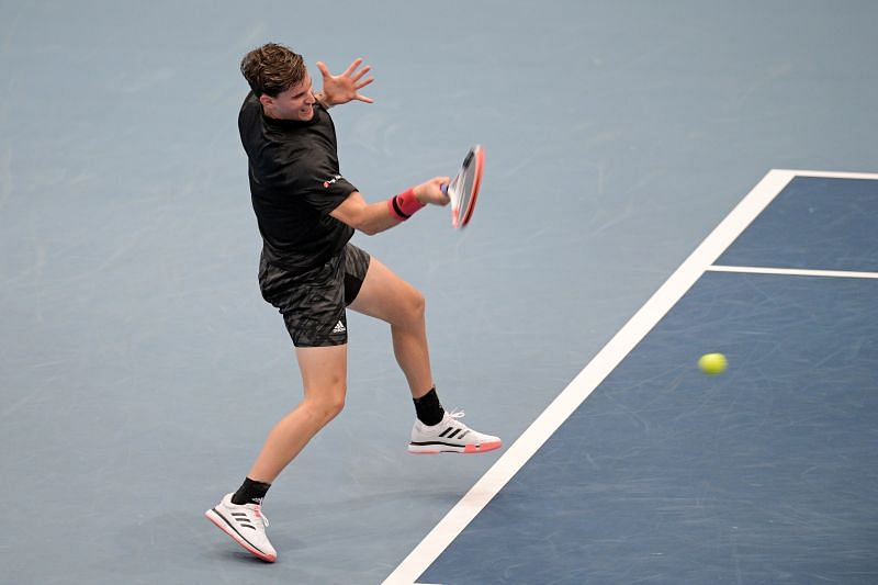 Dominic Thiem plays a forehand during his first round match at the Erste Bank Open