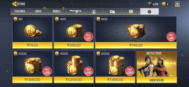 Various CP top-ups in COD Mobile