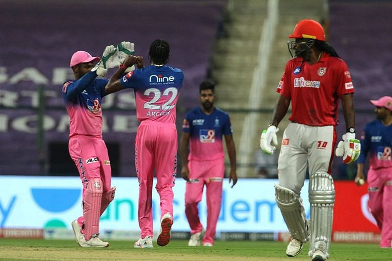 Chris Gayle lost his wicket on 99 in the IPL 2020 match between the Kings XI Punjab and the Rajasthan Royals. (Image Credits: IPLT20.com)