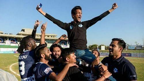 Ranjit Bajaj celebrates after winning the I-League with Minerva Punjab