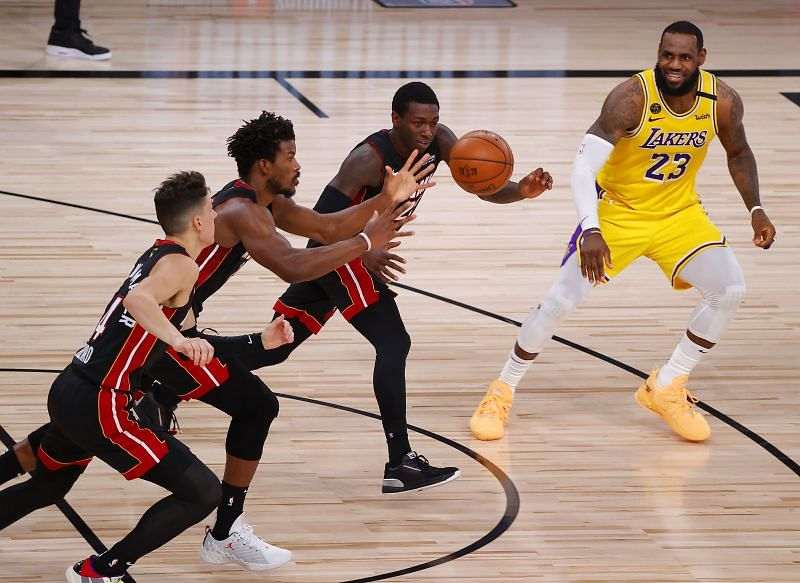 The Miami Heat are battling it out against the LA Lakers in the NBA Finals.