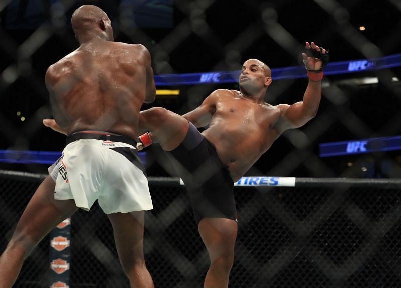 Daniel Cormier kicks Jon Jones in their second fight