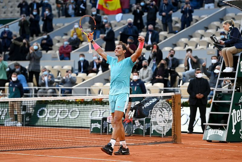 Rafael Nadal celebrates after his semi-final against Diego Schwartzman at the 2020 French Open