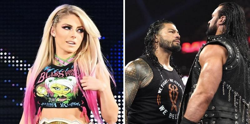 Alexa Bliss, Roman Reigns, and Drew McIntyre