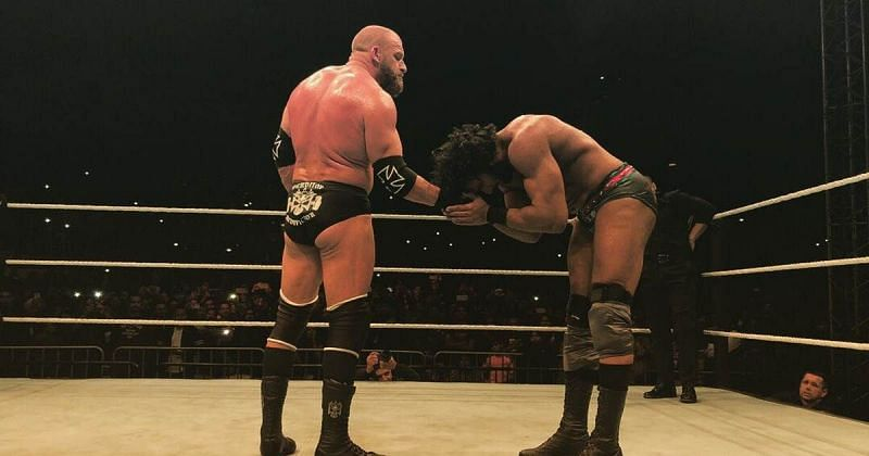 Triple H and Jinder Mahal at the last WWE event in 2017.
