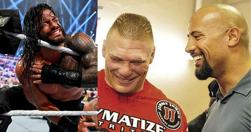 Roman Reigns, Brock Lesnar and The Rock.