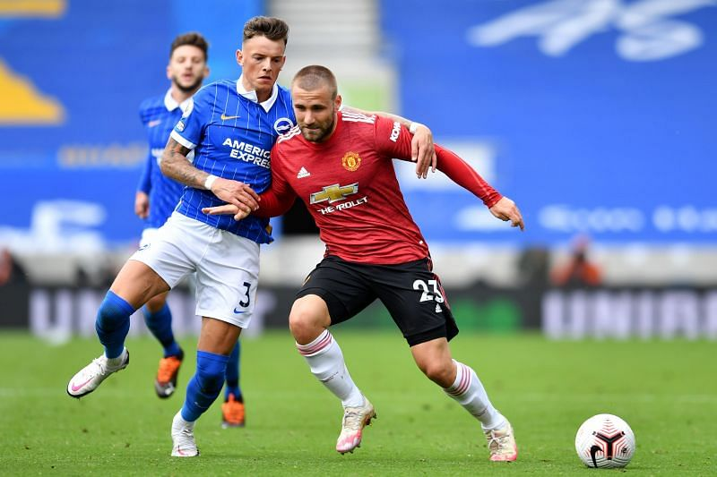 Luke Shaw in action against Brighton & Hove Albion