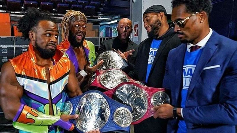 The Street Profits traded the red titles for the blue ones of SmackDown.