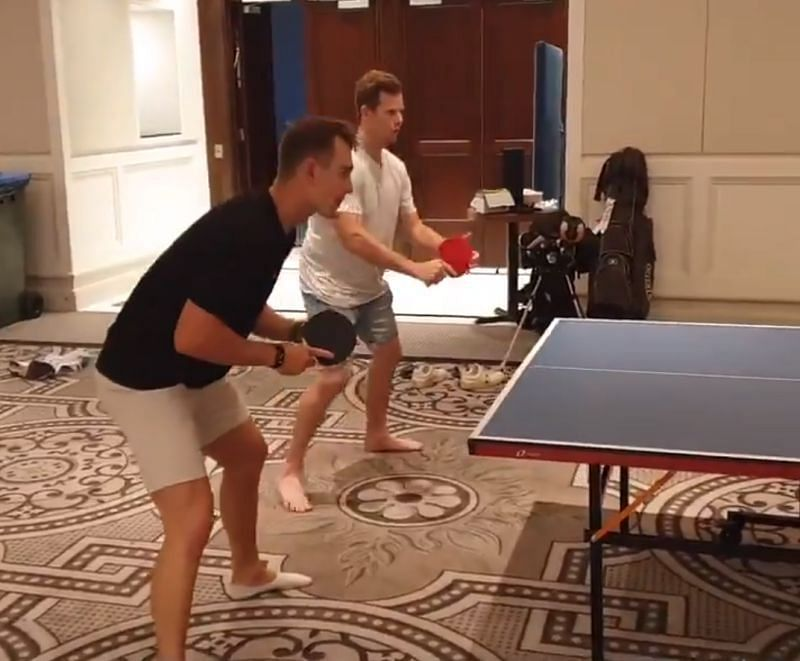 Steve Smith and Marnus Labuschagne playing table tennis. Pic: Cricket Australia/ Twitter