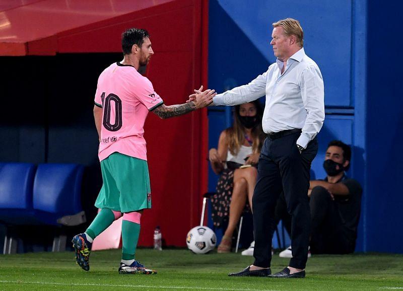 Lionel Messi and Ronald Koeman