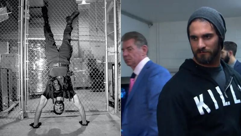 Seth Rollins (left); Vince McMahon and Seth Rollins (right)