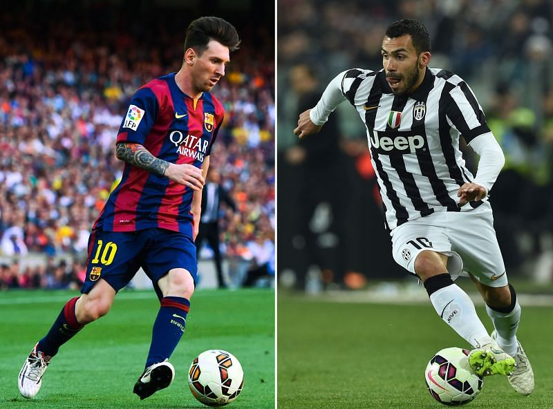 Carlos Tevez (right) and Lionel Messi (left)
