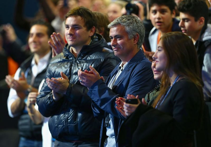 Jose Mourinho watching the match between Andy Murray and Roger Federer in 2014