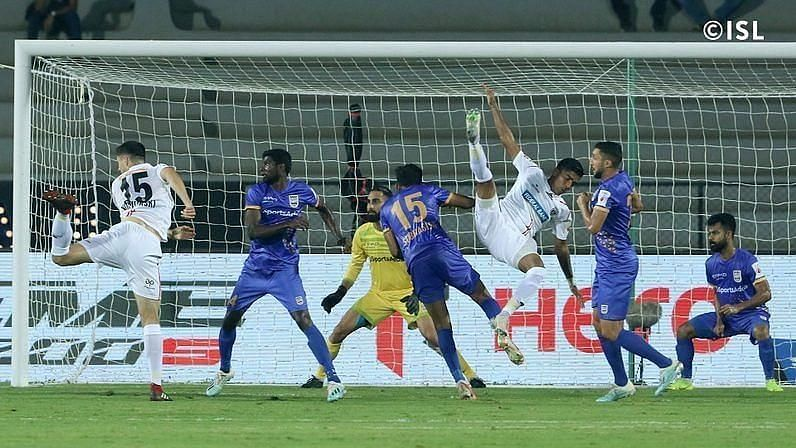 Mumbai City FC and NorthEast United FC in action last season