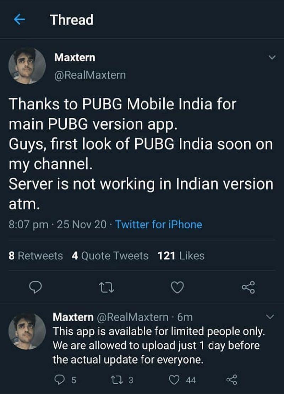Maxtern द्वारा डिलीट किया गया ट्वीट