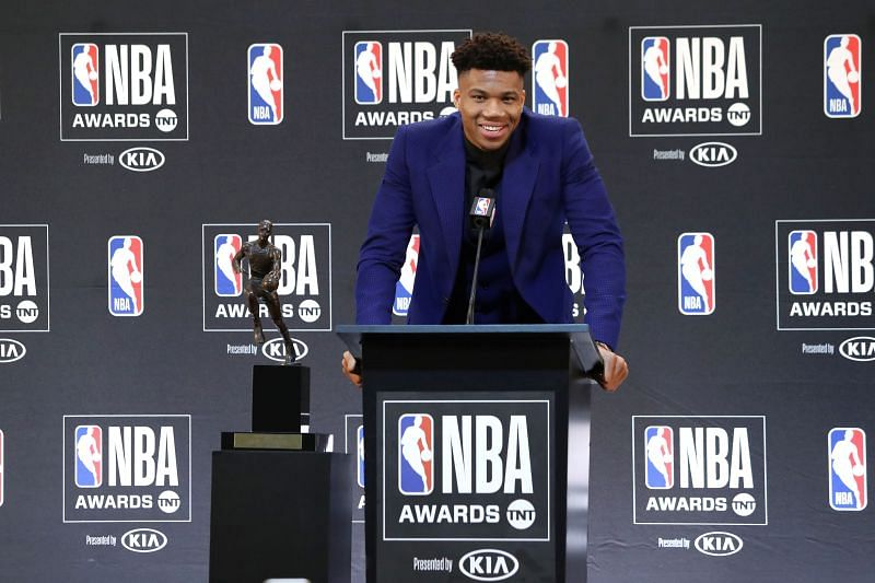 Giannis accepting his first MVP award in 2018.