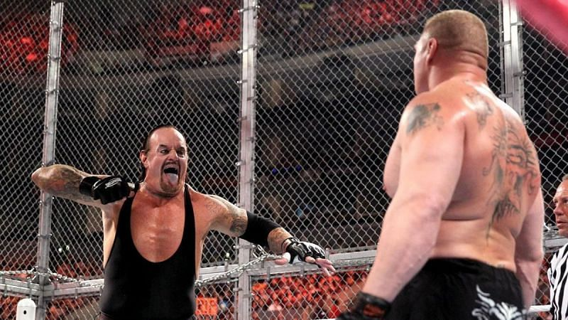 The Undertaker and Brock Lesnar at Hell in a Cell