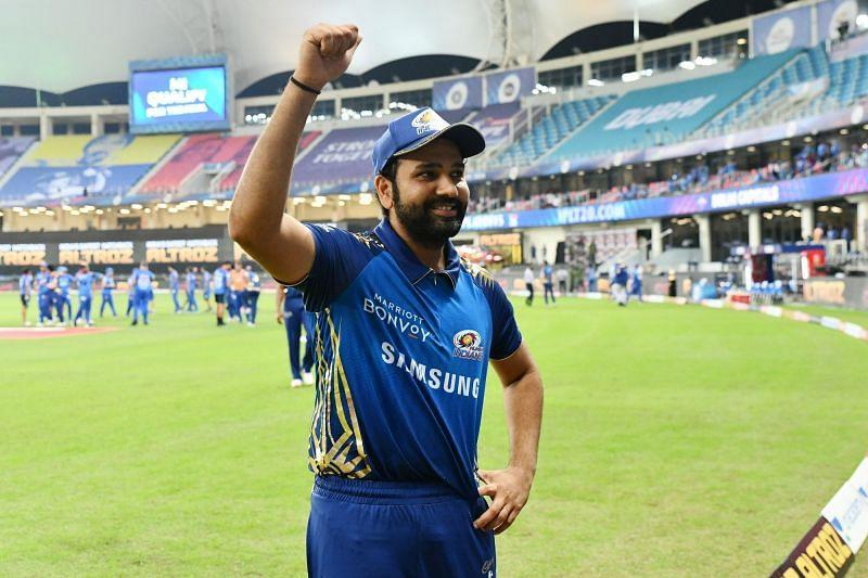 Rohit Sharma celebrates Mumbai Indians