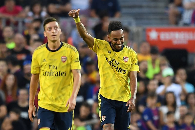 Mesut Ozil has come to the aide of his club captain Pierre-Emerick Aubameyang