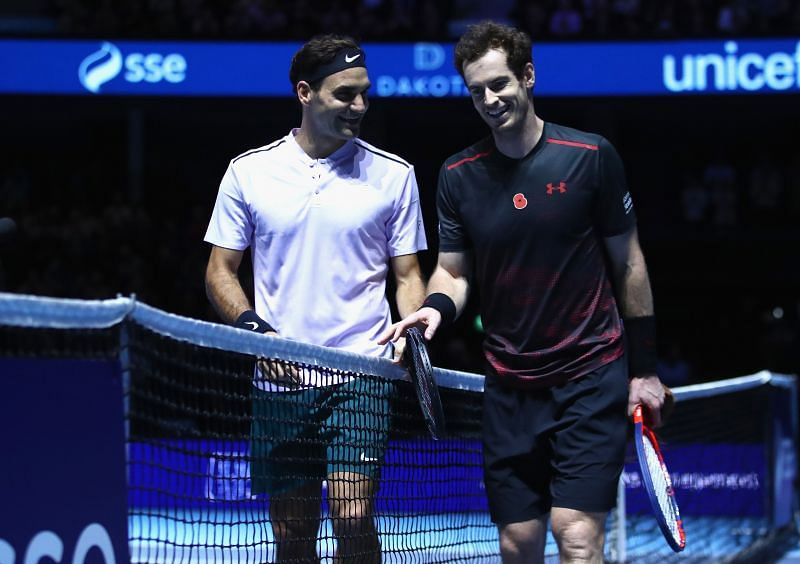 Andy Murray (R) with Roger Federer in 2017