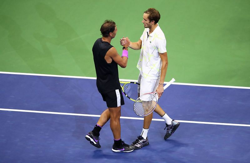 Rafael Nadal shakes hands with Daniil Medvedev after winning the 2019 US Open