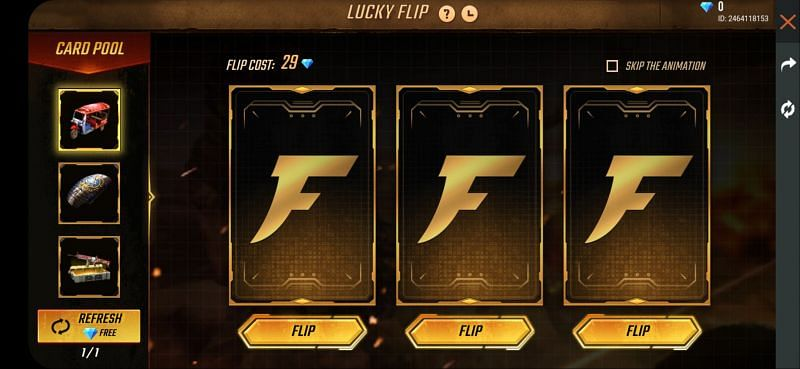 Flip cards to win rewards in Free Fire